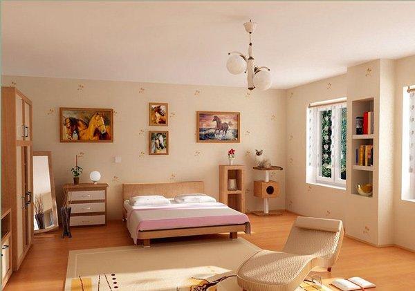 Phòng ngủ có giường, tủ, kệ, cửa sổ, tranh treo tường chủ đề ngựa