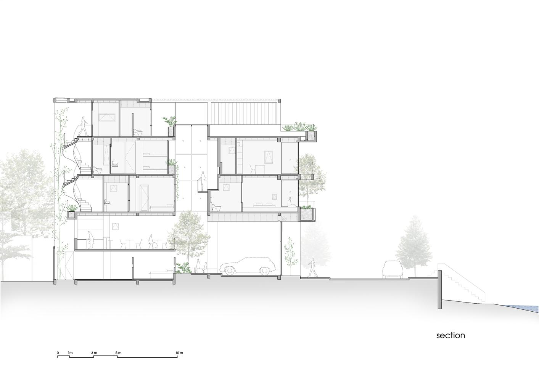 Bản vẽ thiết kế mặt cắt nhà phố