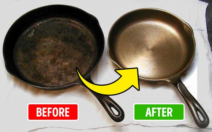 Chảo bị cháy và sau khi được rửa sạch