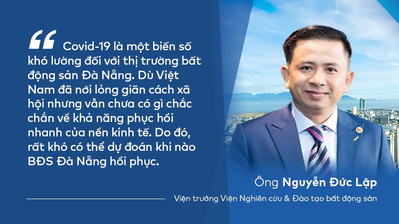 Chân dung ông Nguyễn Đức Lập kèm đoạn nội dung nhận định về thị trường bất động sản Đà Nẵng.