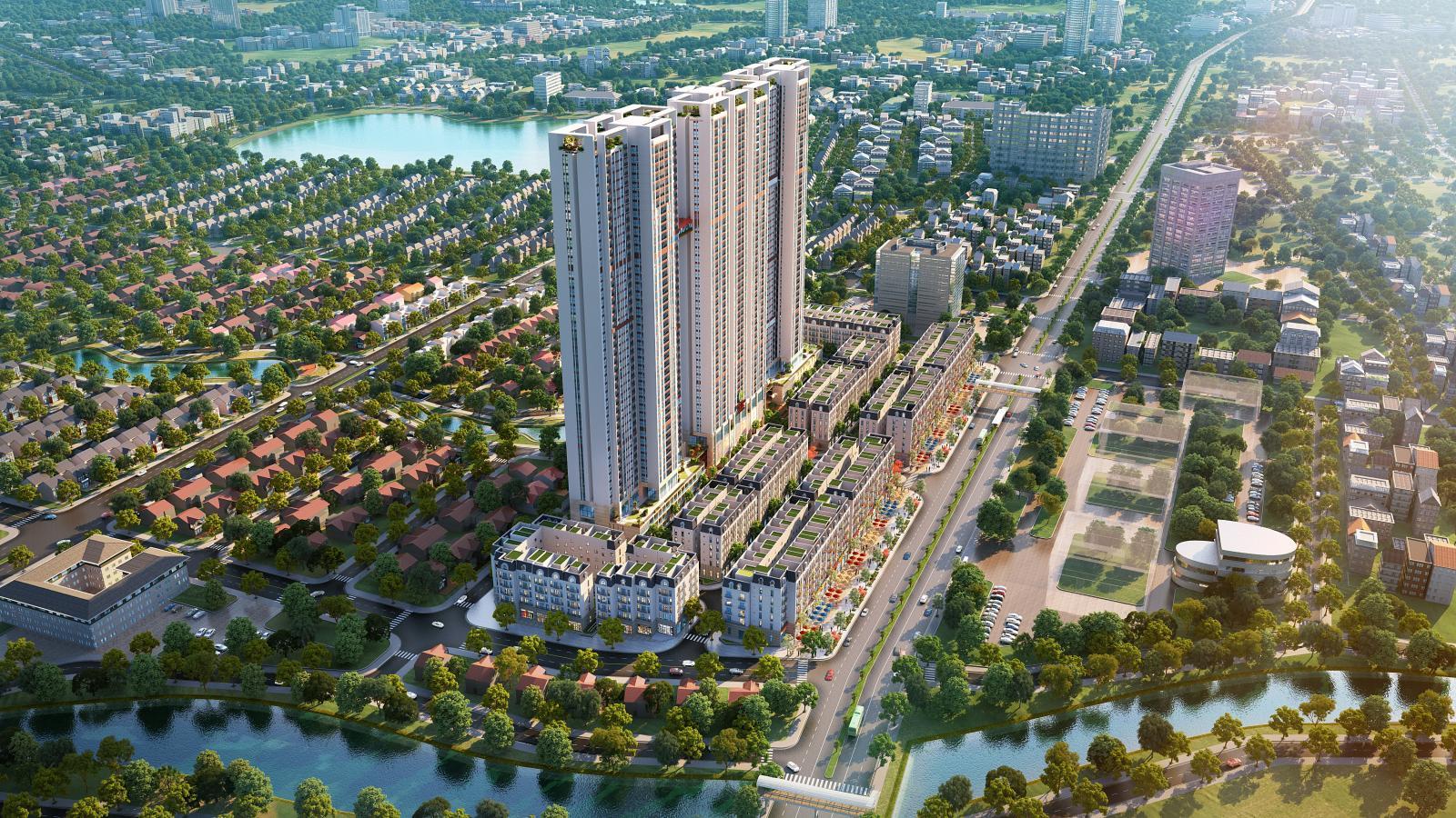 Phối cảnh một tòa nhà cao tầng nằm gần mặt đường lớn, xung quanh là các công trình thấp tầng