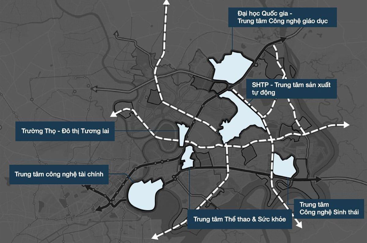 bảng đồ chỉ dẫn 6 khu đô thị chức năng