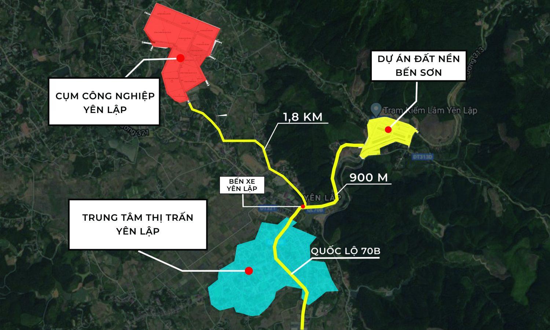 Vị trí dự án Khu dân cư Bến Sơn Yên Lập