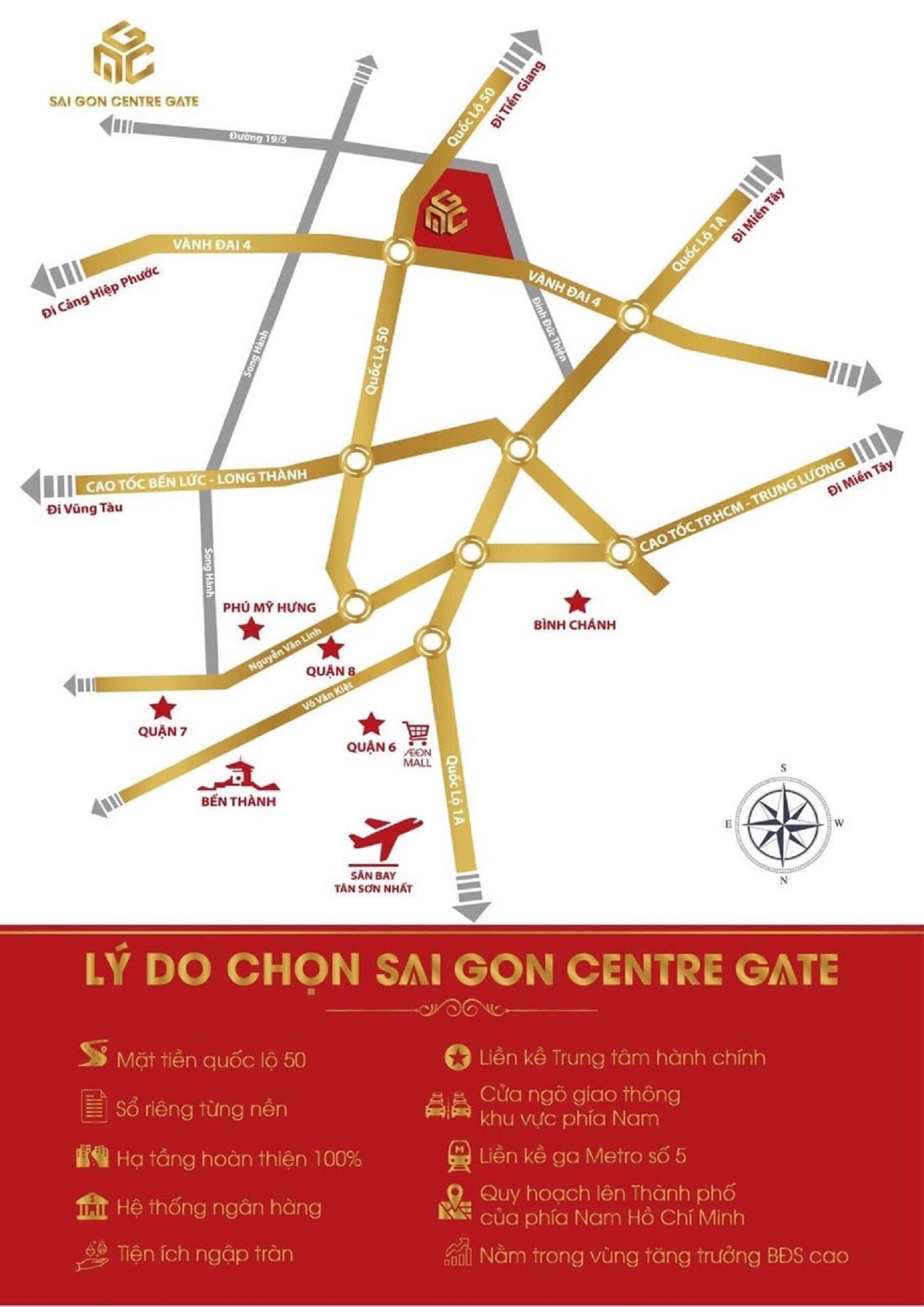 Vị trí dự án Khu dân cư Sài Gòn Centre Gate trên bản đồ