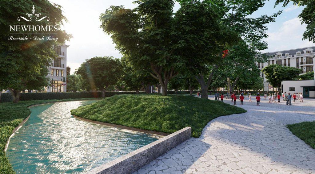 Cảnh quan cây xanh - mặt nước tại New Home Riverside Đình Bảng