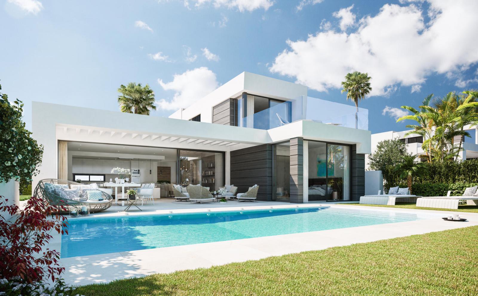 Thiết kế biệt thự 2 tầng có hồ bơi hiện đại
