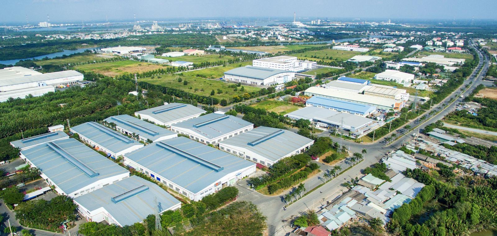 Khu công nghiệp tại Long An nhìn từ trên cao.