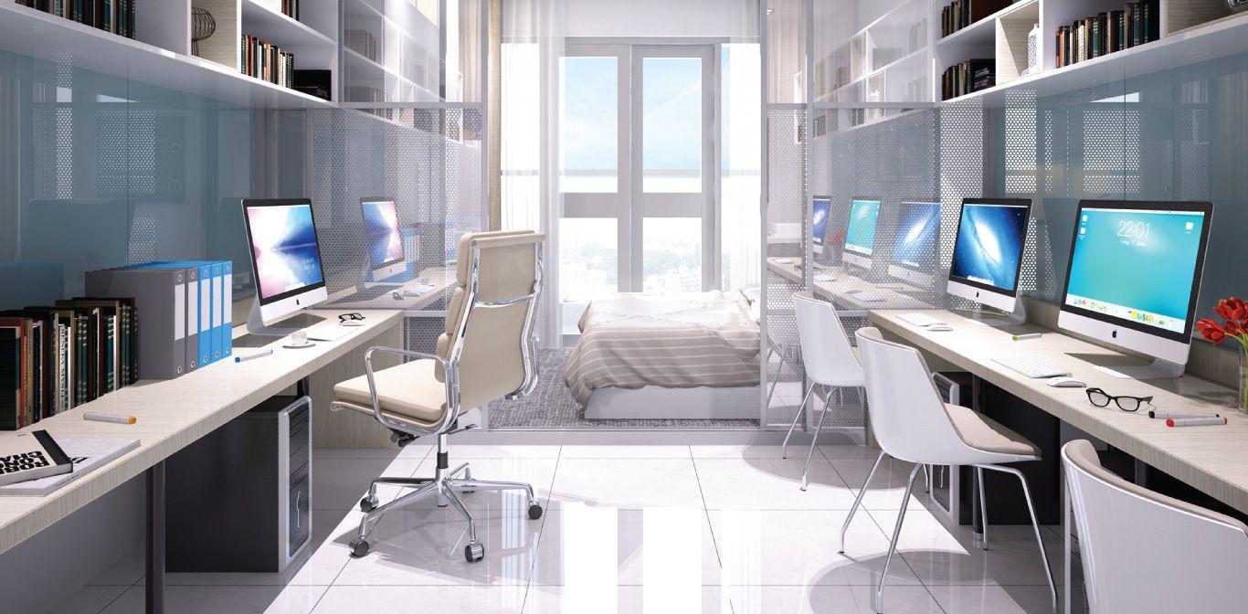 Thiết kế 3D căn hộ Officetel