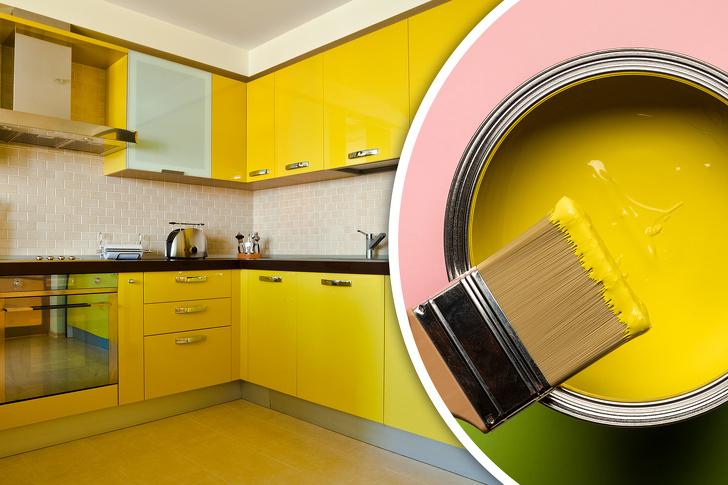 Phòng bếp sơn màu vàng