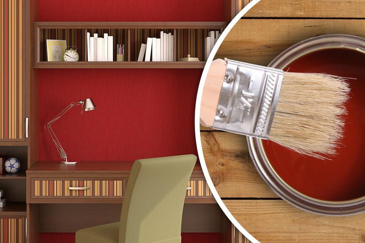 Phòng làm việc tại nhà sơn màu đỏ