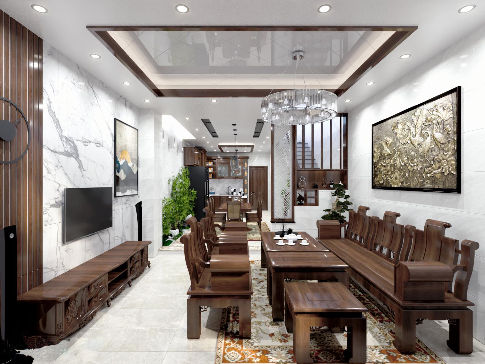 Phòng khách sử dụng nội thất gỗ