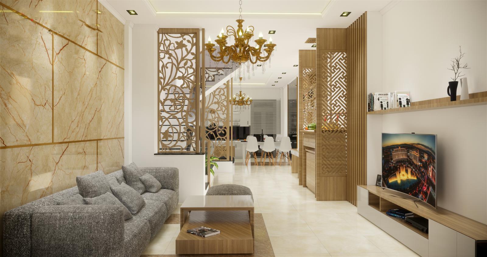 Phòng khách hiện đại có sofa, ti vi, vách ngăn bằng gỗ