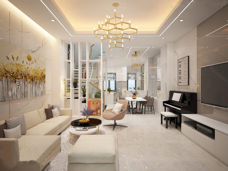 Phòng khách tông sáng, có sofa, đàn piano, tranh khổ lớn treo tường