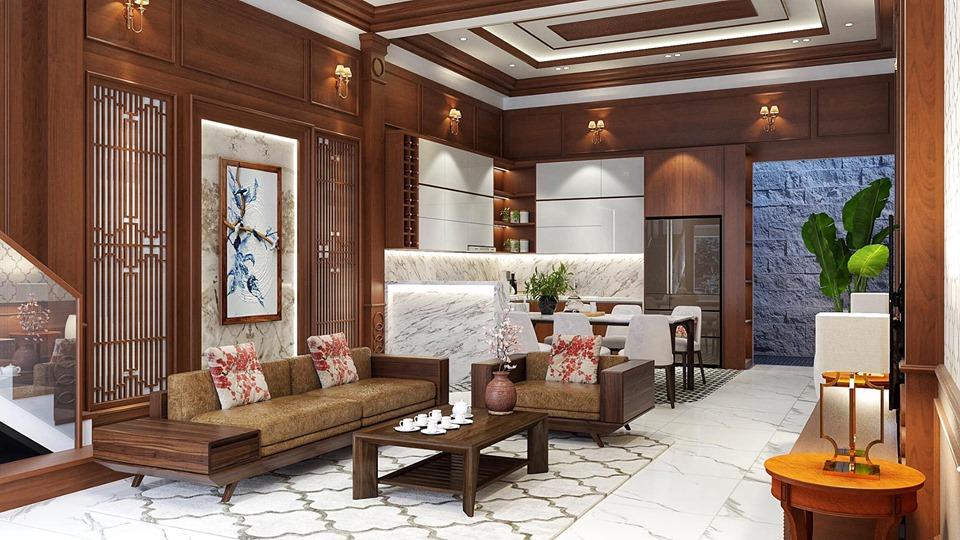 Thiết kế nội thất phòng khách kết hợp phong cách cổ điển và hiện đại, có bàn ghế, tranh, cây cảnh trang trí