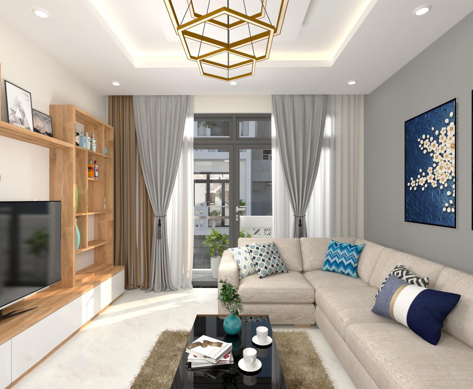 Phòng khách có sofa, rèm cửa, đèn chùm, ti vi