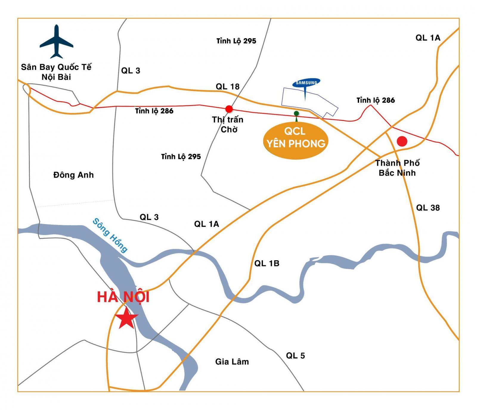 Vị trí dự án Khu đô thị QCL Yên Phong