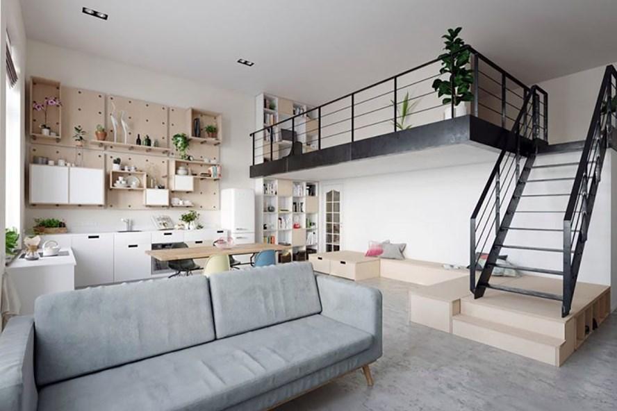 Bên trong một căn hộ có gác lửng của người độc thân