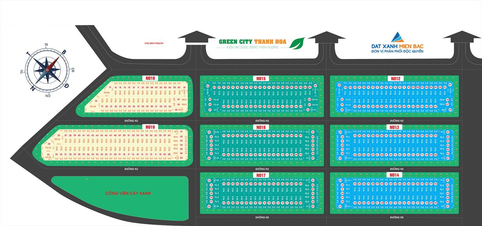 Sơ đồ quy hoạch tổng thể dự án Green City Thanh Hóa