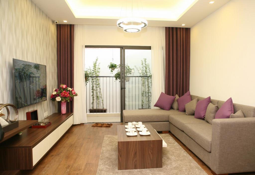 phòng khách trong một căn hộ dự án nhà giá rẻ