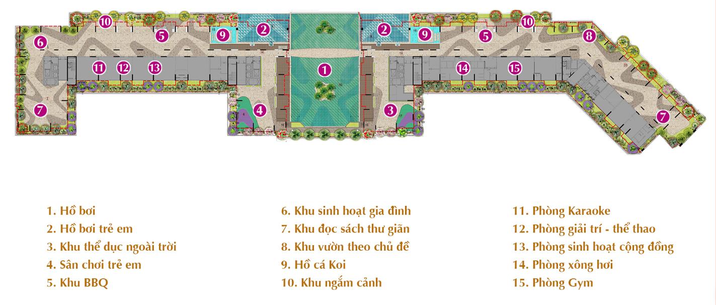 Sơ đồ tiện ích nội khu dự án Sarica Condominium
