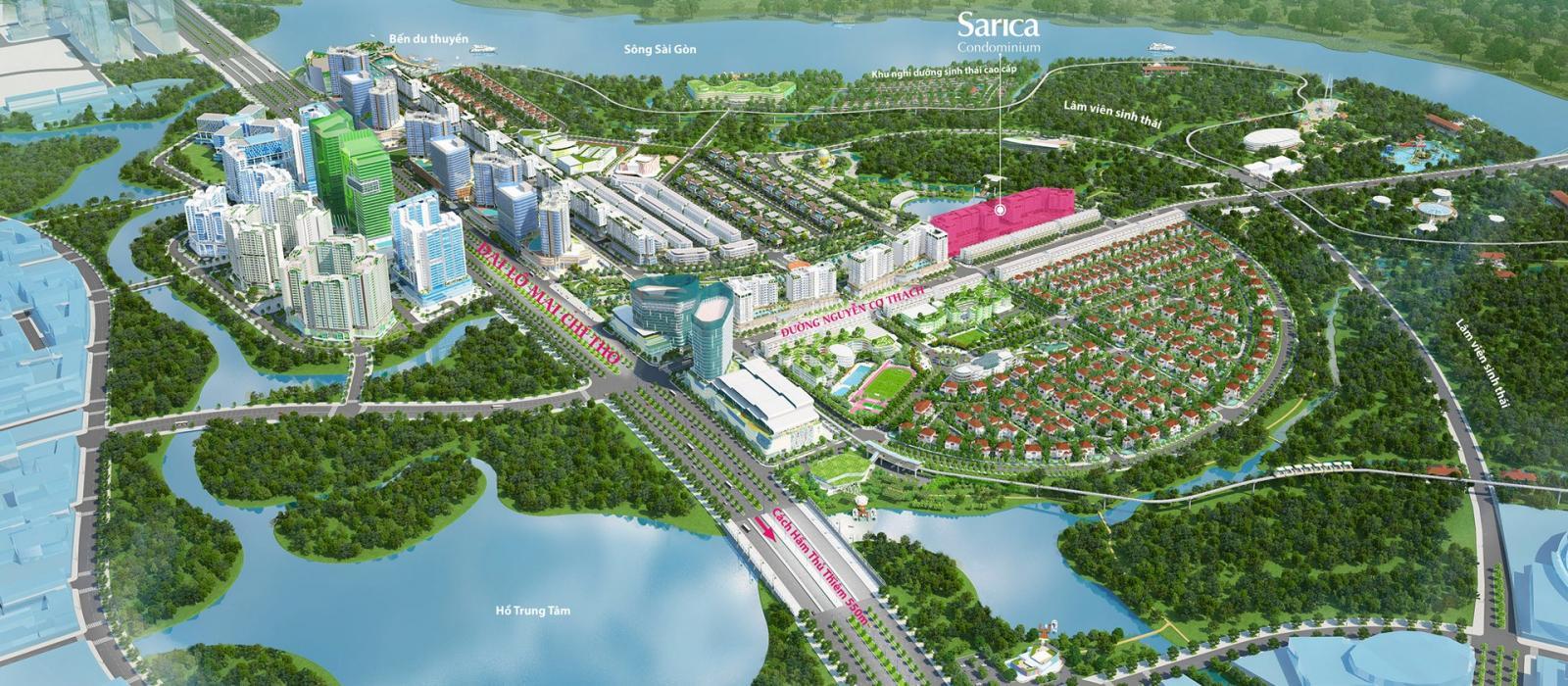 Vị trí dự án căn hộ Sarica trong khu đô thị Sala