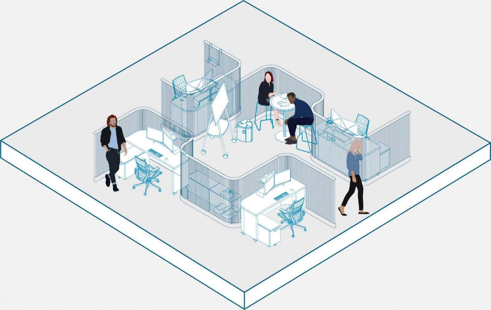 Mô hình phòng họp cho nhóm nhỏ ở văn phòng