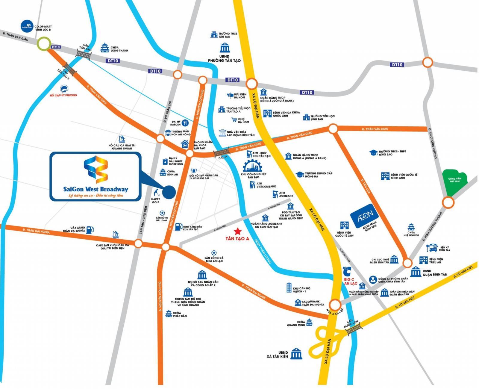 Vị trí dự án Saigon West Broadway trên bản đồ