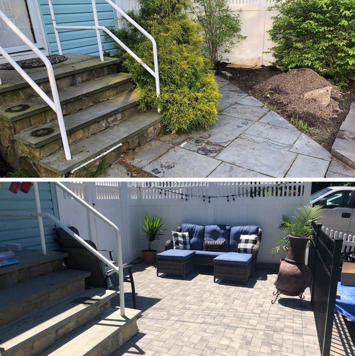 Sân nhà trước và sau cải tạo