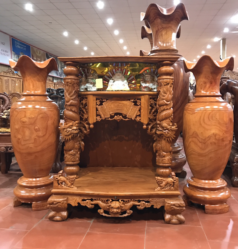 mẫu bàn thờ thần tài đẹp bằng gỗ