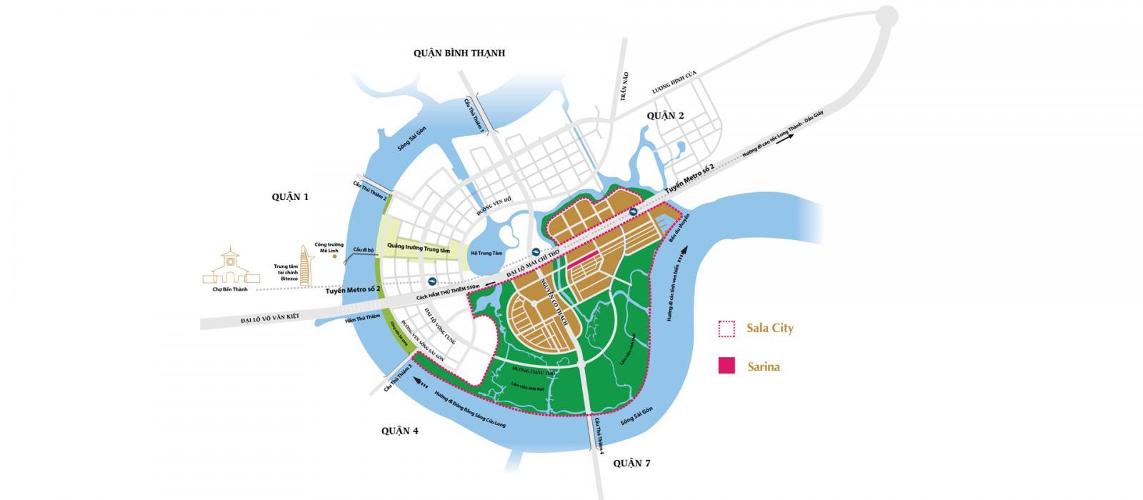 Vị trí dự án Sarina Condominium trên bản đồ
