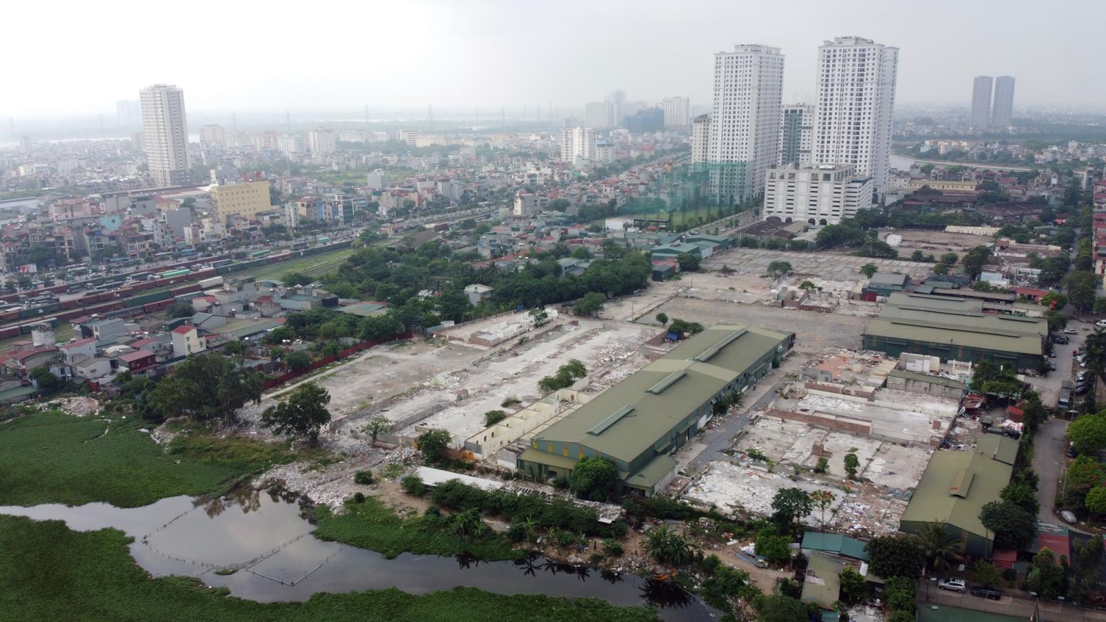 khu đất thực hiện dự án Aeon Mall Hoàng Mai nhìn từ trên cao