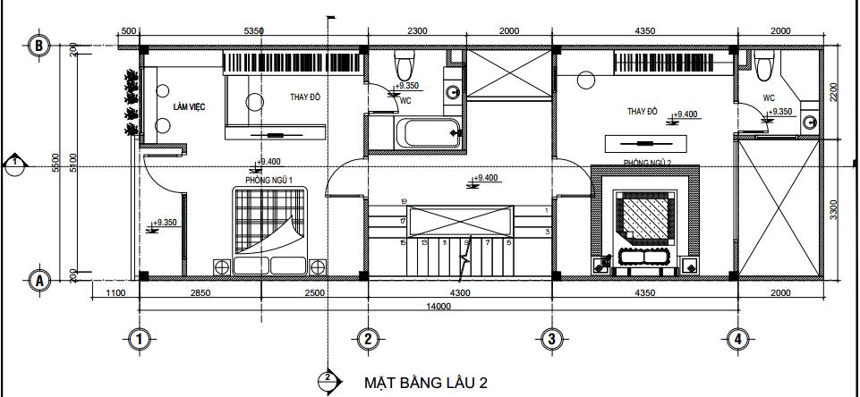 Bản vẽ thiết kế mặt bằng có hai phòng ngủ