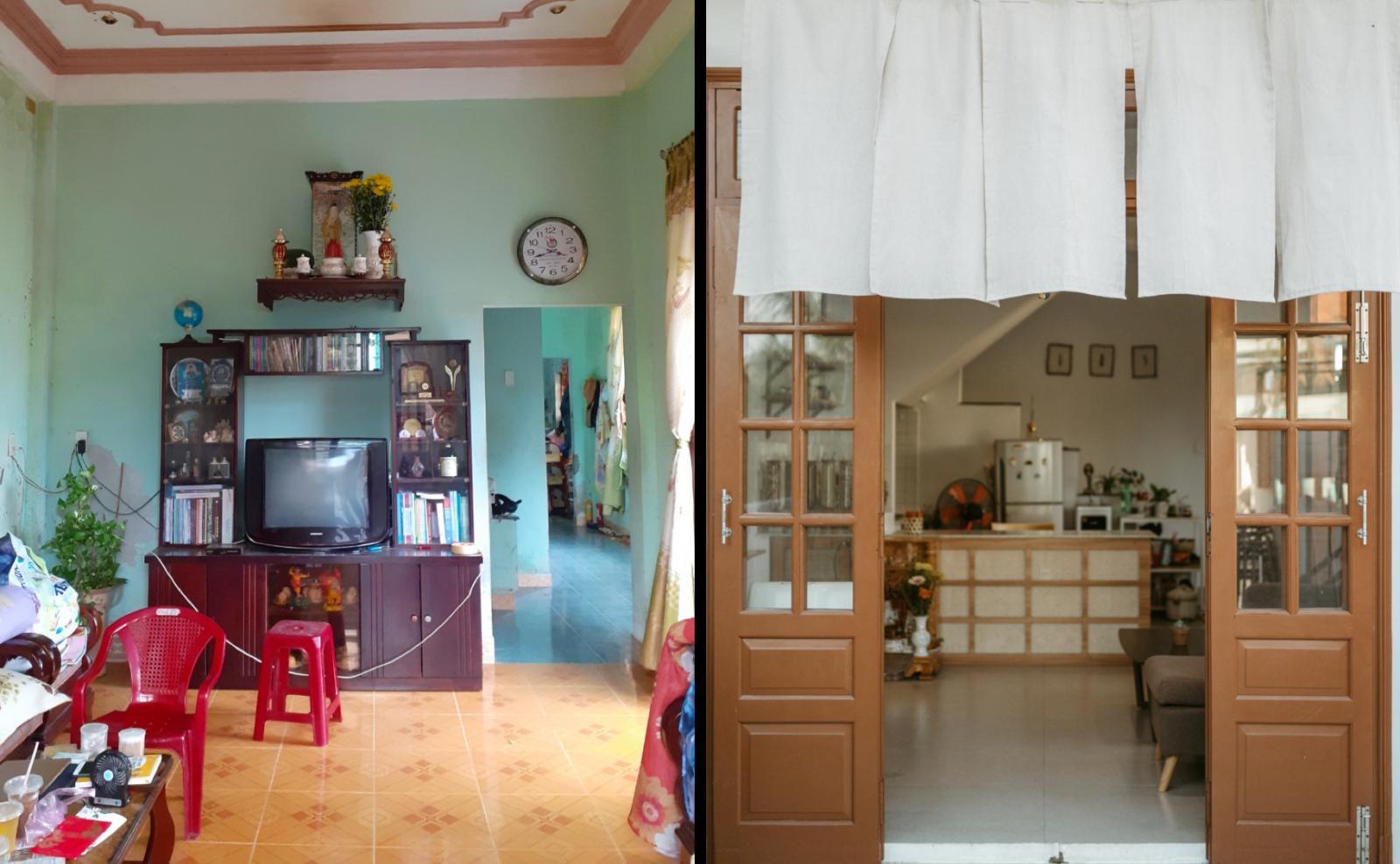 phòng khách trước và sau cải tạo