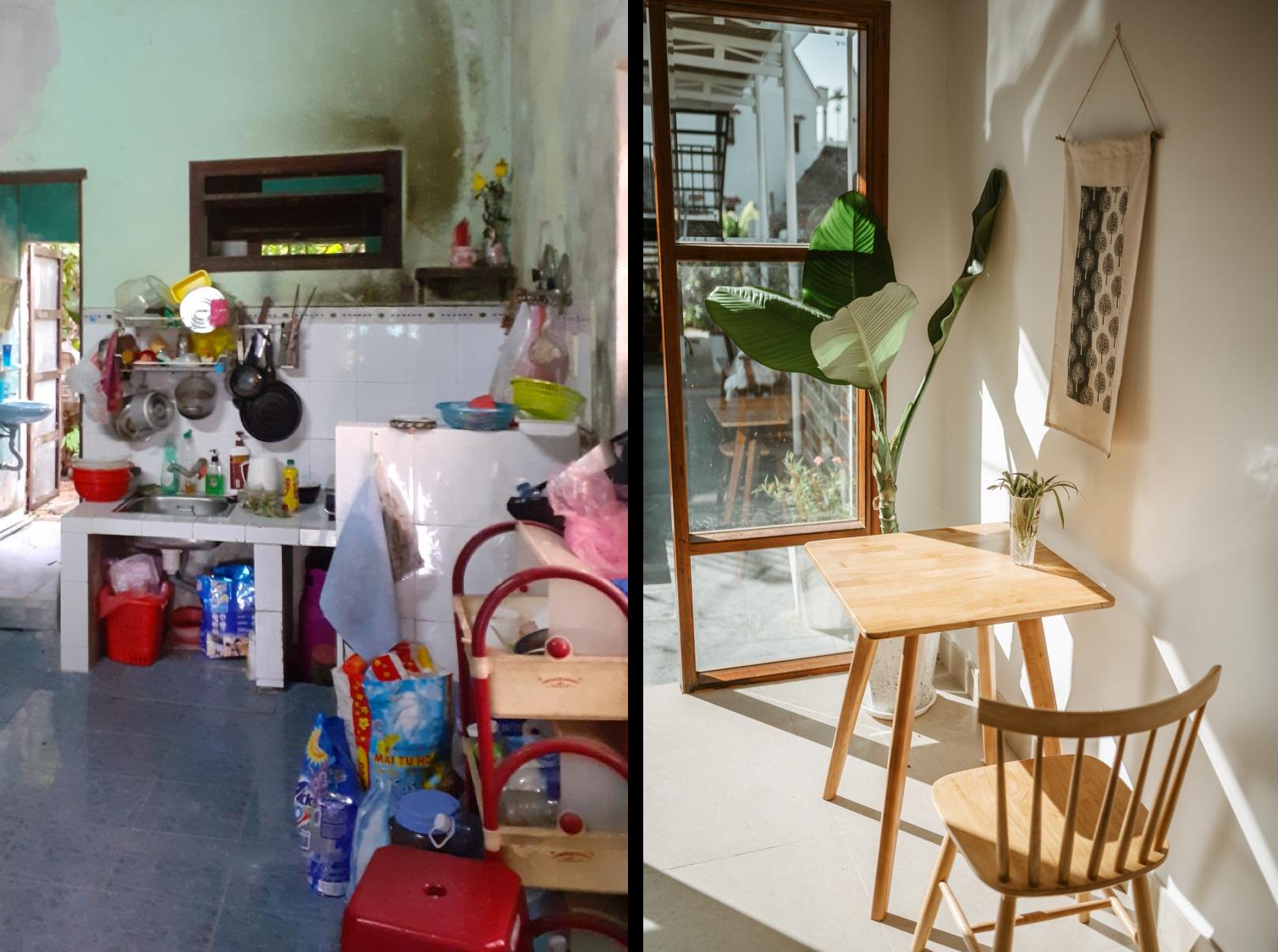 hình ảnh căn bếp trước và sau cải tạo