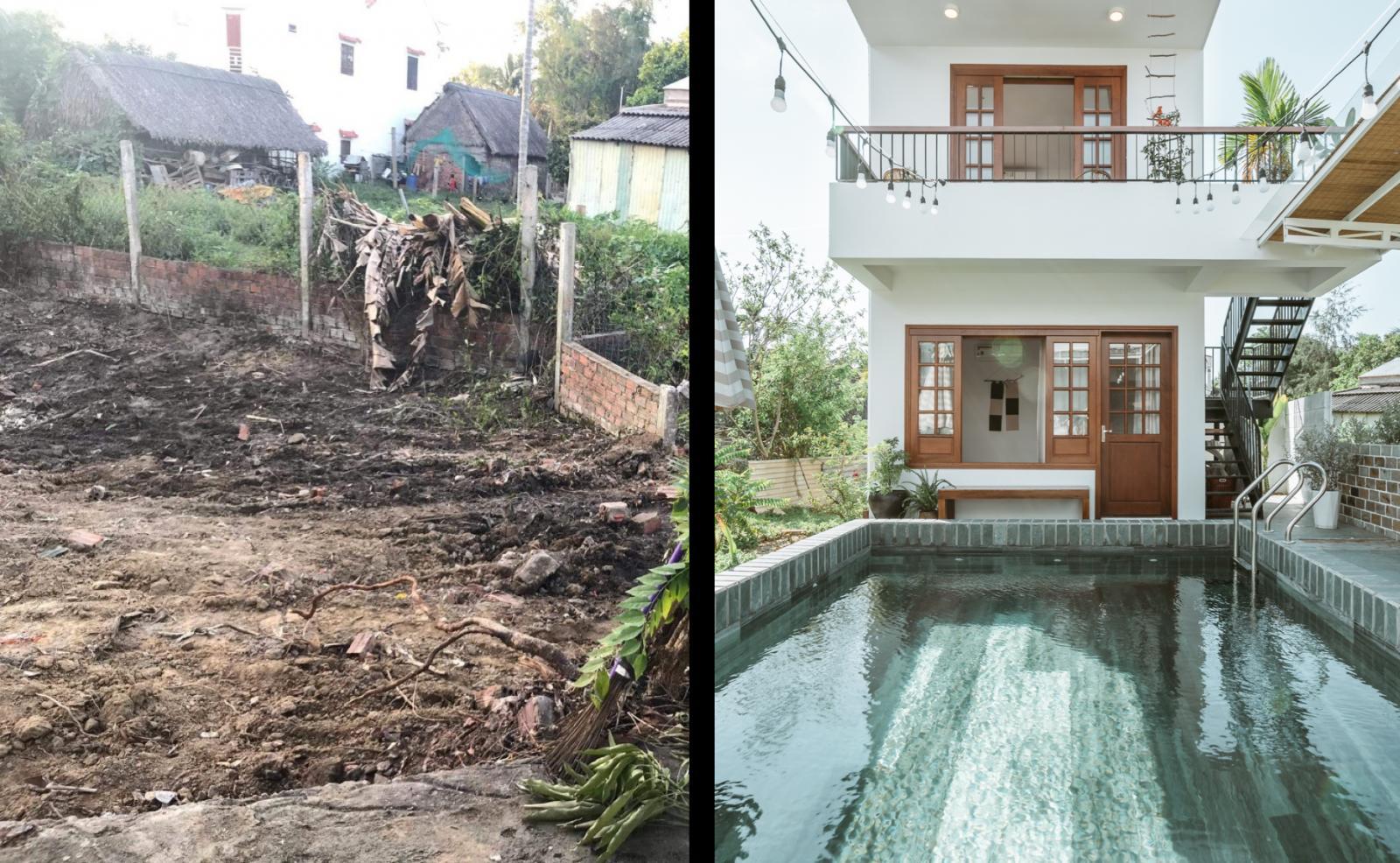 căn nhà mới và hồ bơi