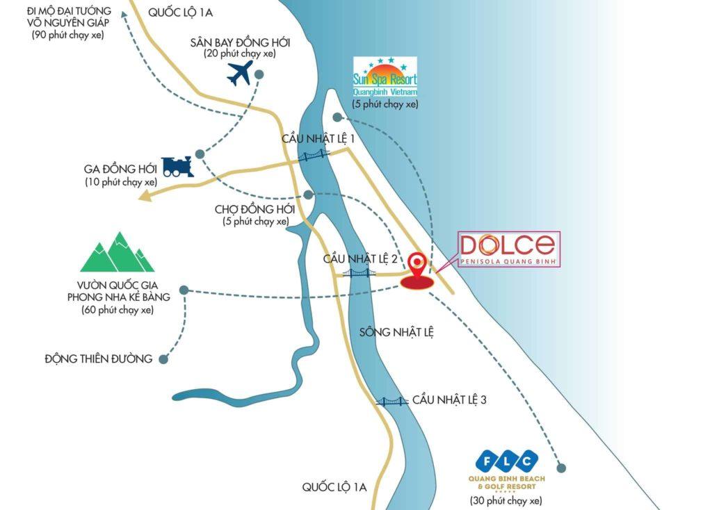 Vị trí dự án Dolce Penisola Quảng Bình
