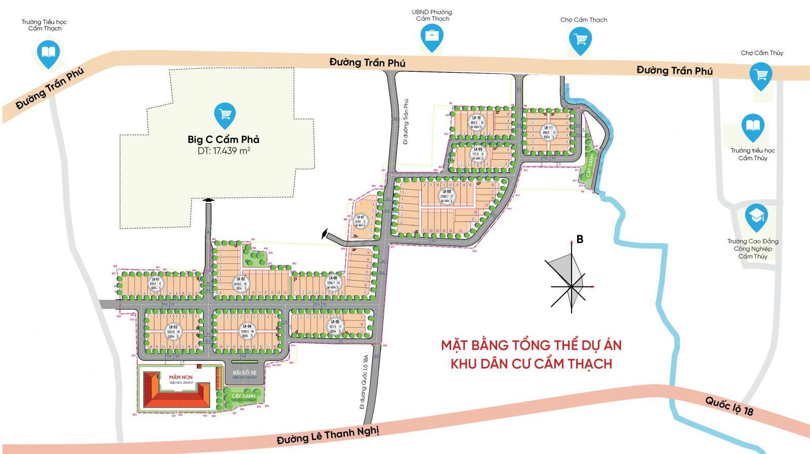 Mặt bằng tổng thể dự án Khu dân cư Cẩm Thạch