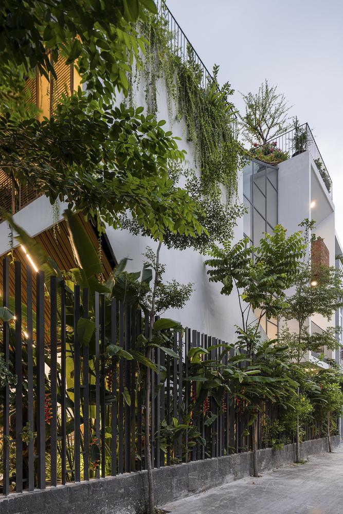 Bên ngoài ngôi nhà lệch tầng có vườn cây trên mái