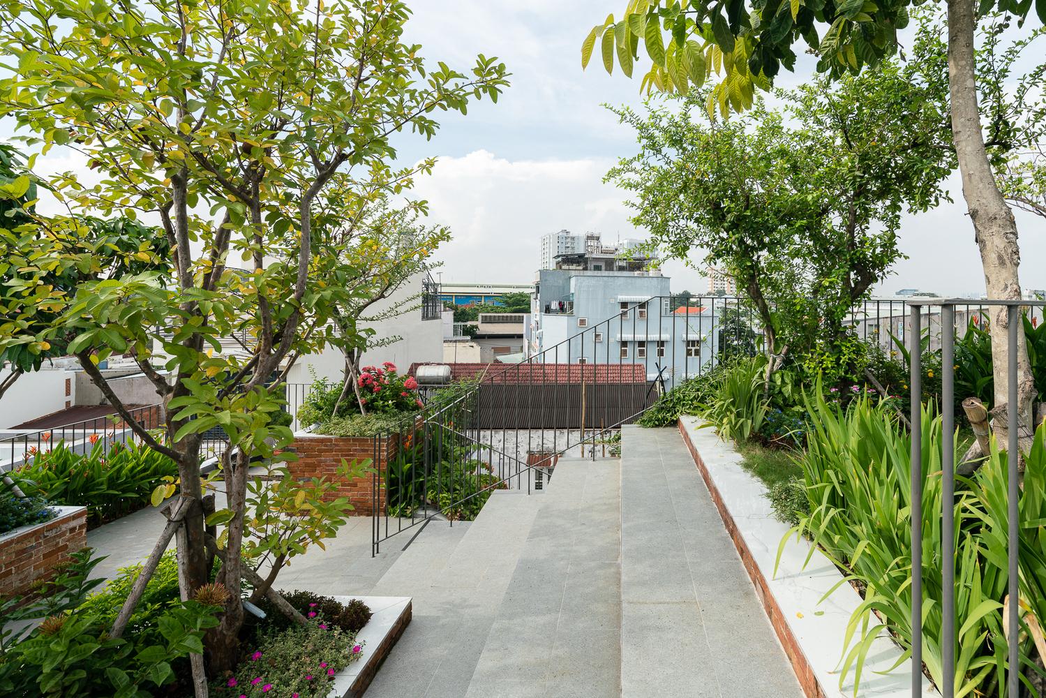 Vườn trên sân thượng nhà lệch tầng