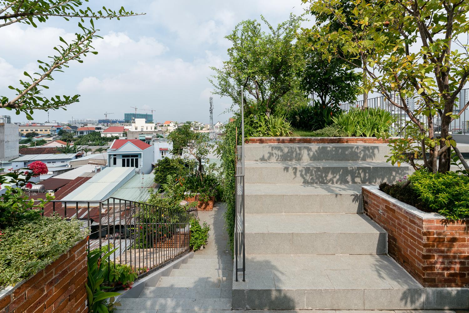 Vườn cây trên mái nhà ống lệch tầng