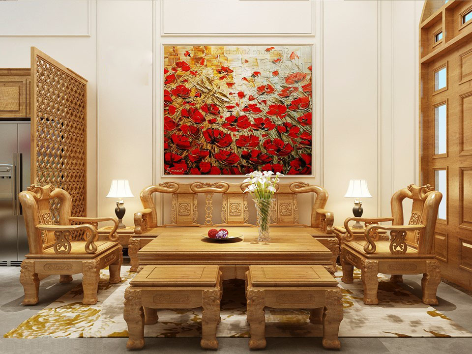 Bộ bàn ghế gỗ lim trong biệt thự sang trọng