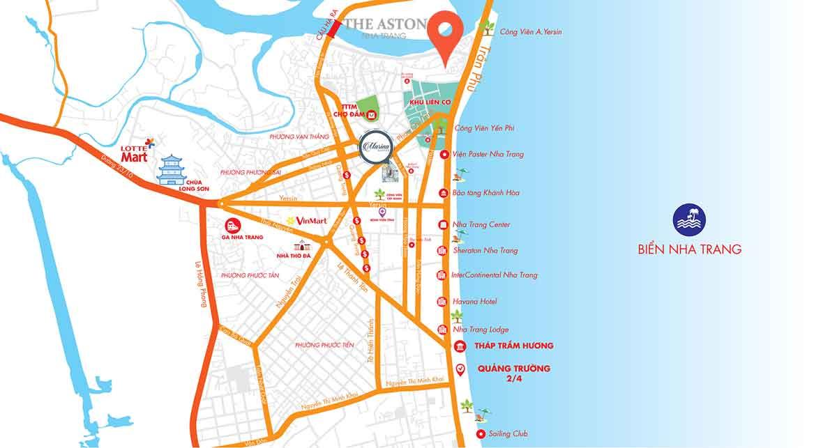 Vị trí dự án The Aston Luxury Residence Nha Trang