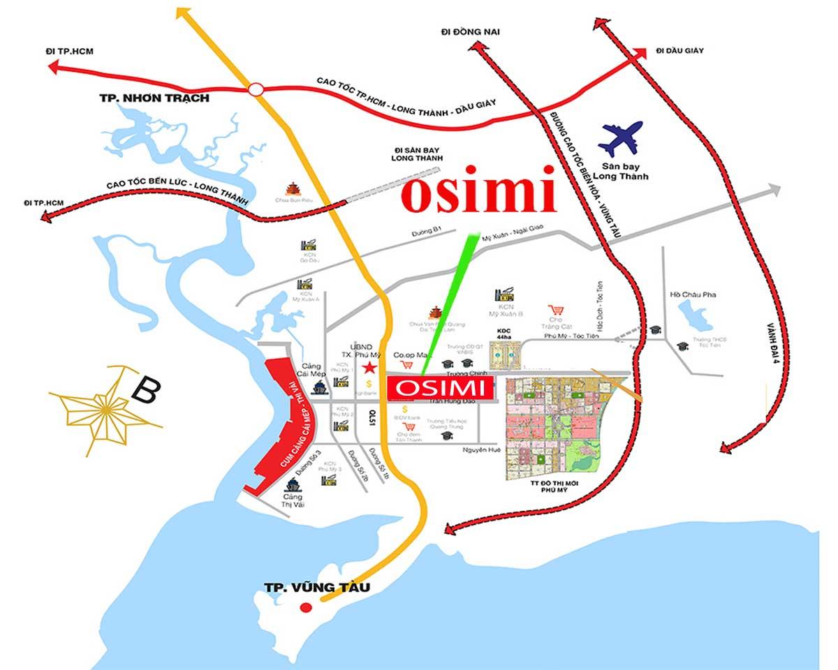 Vị trí dự án Osimi Phú Mỹ trên bản đồ