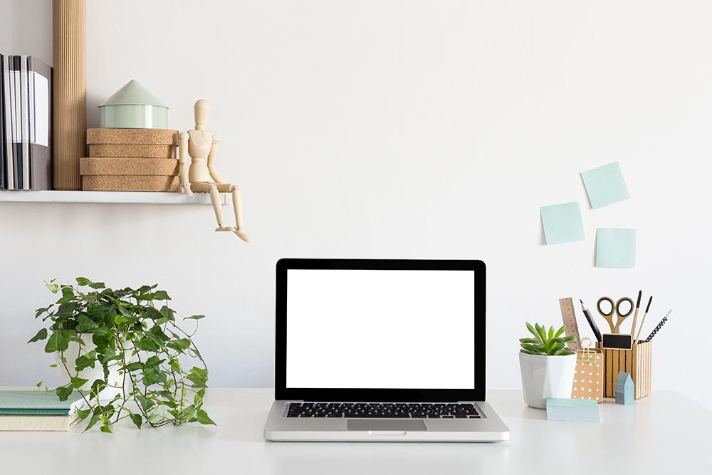 Cây thường xuân đặt trên bàn cạnh máy tính.