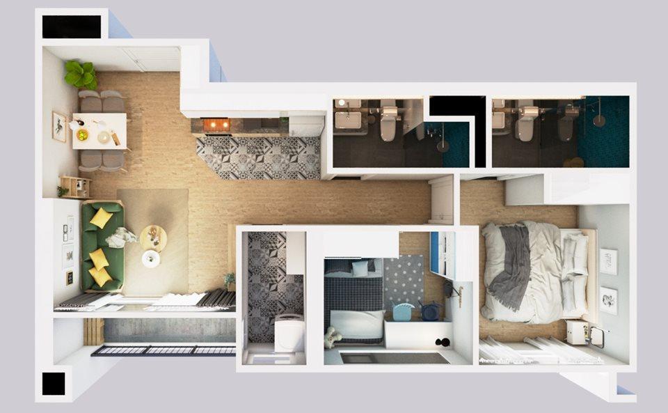 Thiết kế bội thất căn hộ 2 phòng ngủ