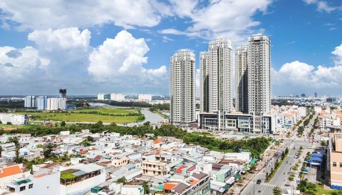 Hình ảnh những tòa nhà cao tầng trên một khu đất