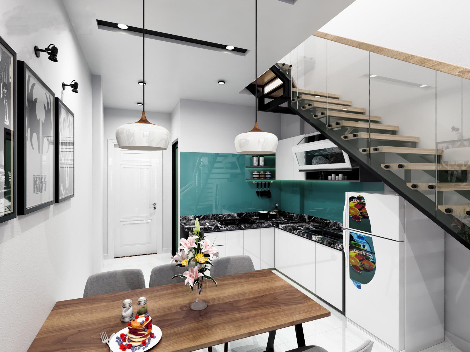Thiết kế tủ bếp chữ L tận dụng không gian trong nhà chật