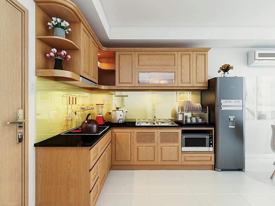 Tủ bếp chữ L gỗ sồi tự nhiên