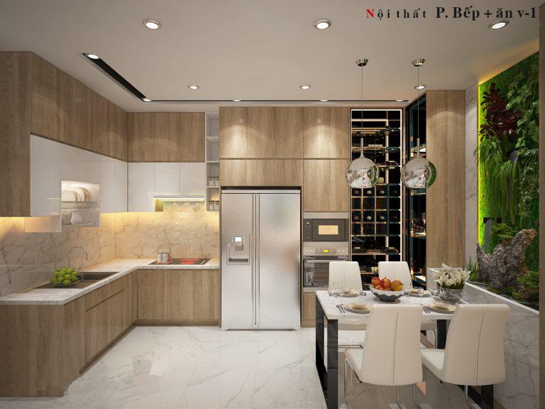 Bếp kết hợp phòng ăn có thiết kế tủ bếp chữ L