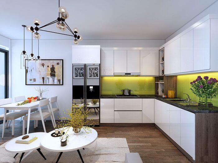 Tủ bếp bằng gỗ MDF phủ acrylic